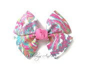 Coral Reef Pinwheel Bow, Beach Hair Bow, Hair Bows For Girls, Colorful Coral Hair Bow, Toddler Beach Bows, Tropical Hair Bows, Pinwheel Bows