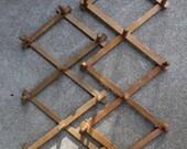 SALE SALE SALE Vintage Accordion Peg Rack Collapsible Expandable Wooden Home Decor Organization Storage