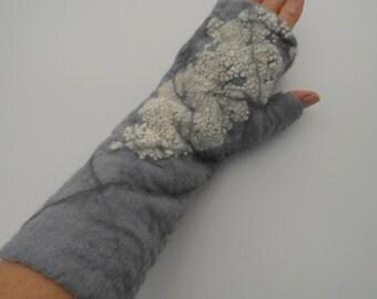 Fingerless Gloves,  Winter gloves, felted gloves, wet felted gloves, long arm gloves, hand warmers, grey felt gloves, winter weather