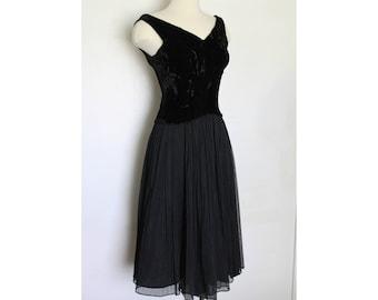 1950s Black New Look Party Dress - Velvet Bodice - Sheer Crepe Skirt