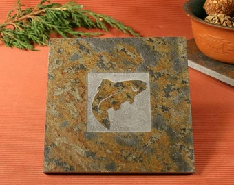 Slate Trivet / Hot Plate - Fish - Trout Sandcarved on Copper Slate
