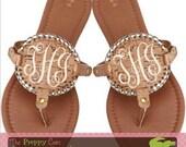 Monogrammed Cork Medallion Sandals, Medallion Flip Flops, Monogrammed Sandals, Personalized Sandals