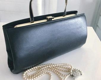 Vintage 50's Black Leather Handbag with Tuck in Handle -- Retro