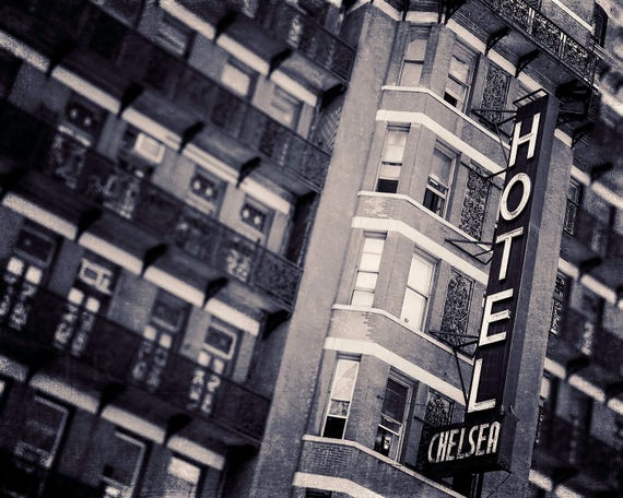Chelsea Hotel Photograph, New York City Photography, Art For Walls, Gray, Black and White, Wall Art Print, Urban Home Decor, retro inspired