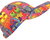 Kaleidoscope Cats - Multi-Color Ladies Baseball Cap made with Laurel Burch Bright Rainbow Fanciful Feline cat eyes fabric Hat by Calico Caps