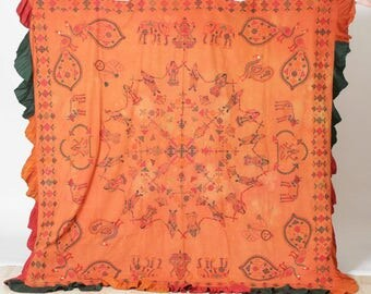 FREE SHIPPING!! Vintage, India, Gujarat, Antique, Holy Temple, Canopy, Wedding, Embroidered, Textile, Wall Hanging, Throw, Hippie, Boho