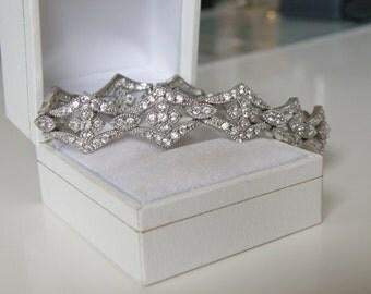 Vintage Antique Style Sterling Silver 925 Cubic Zirconia Rhinestone Tennis Bracelet