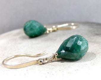 Emerald Earrings, Natural Emerald Earrings, Gold Earrings, Natural Emerald Gemstone, May Birthstone Earrings, Green Earrings - Verde