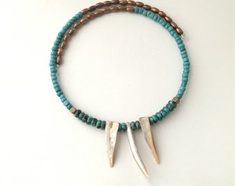 New! - choker, beaded, modern, wrap style turquoise and mother of pearl choker necklace