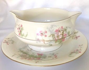 Theodore Haviland Apple Blossom china gravy boat