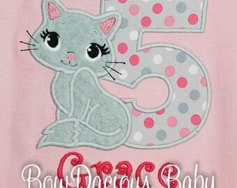 Birthday Girl Shirt, Kitty Birthday Shirt, Cat Birthday Shirt or Bodysuit, Number Shirt, Cat Shirt, Personalized T Shirt, Cat Birthday Party