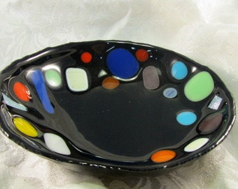 Colorfully Spotted Black Glass Bowl