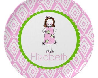 Personalized Melamine Plate for Kids / Lilly Dress Girl Custom Plate Bowl Placemat