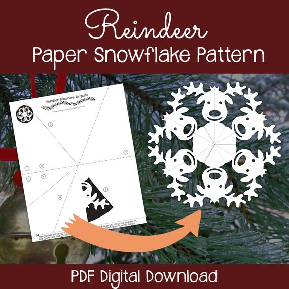 Reindeer paper snowflake pattern pdf digital download for How to make a real paper snowflake