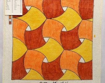Rare Vintage Lark Creations Its A Lark Ribbons Handpainted Needlepoint Canvas