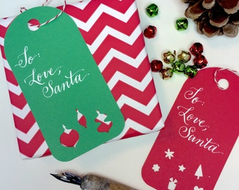 Hand Lettered Holiday Gift Tags from Santa (set of 8 tags)