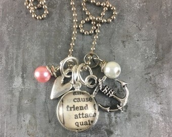 SmallDictionary Word Necklace - FRIEND - with heart and anchor charms