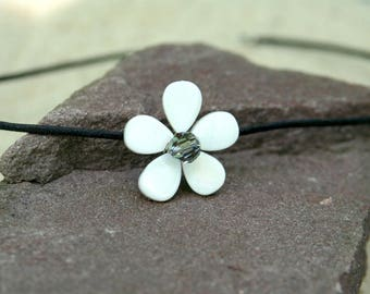 Pearl White Swarovski Crystal & Mother of Pearl Flower Necklace