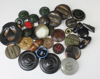 Mixed Lot Vintage Buttons Celluloid Plastic Coat & Jacket Buttons Craft Supply Green Brown Lot of 32 Buttons