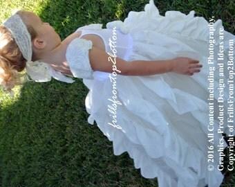 Ruffle Girl Dress . White Off-White Raw Edge Frock . Flower Girl Dress