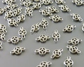 10 pcs small filigree charm spacers, filigree connectors, rhodium silver plated brass 2080-BR
