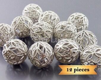 bulk lot of 12 pcs large filigree beads with cz studs, bracelet beads 1970-MR-LG-BULK (12 pcs)