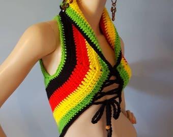 Gypsy Hippie Pixie Vest Sweater Top Lotus
