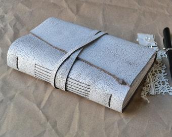 Rustic White Leather Journal