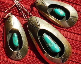 Southwest Sterling Silver Turquoise Shadow Box Pendant Necklace and Earrings Set