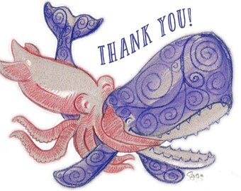 "Hugging Squid and Whale ""Thank You"" Card"