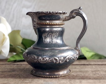 Vintage Silver Creamer - Poole Etched Silverplate Creamer Mono CAN