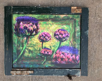ARTICHOKES in BLOOM Painting in custom frame made from a Salvaged SHUTTER