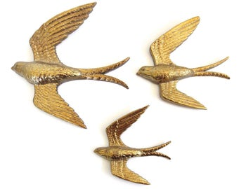 Vintage Mid Century Modern Golden Burwood Swallows // Set of 3