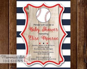 Rustic Baby Shower Invitation, Vintage Baseball Baby Shower Invitation, Baseball Invite, Baseball Party, Baseball Theme, Baby Shower Invite