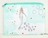 Small Zippered Pouch, Mermaid Sea Princess, Mint Mist Coin Purse