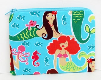 Small Zipper Pouch, Mermaid Beauties, Turquoise Coin Purse