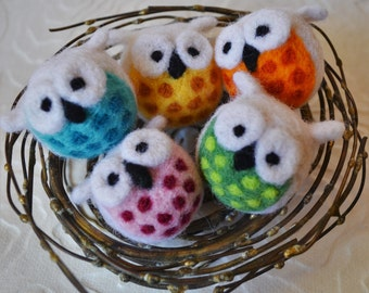 Colorful owl ornaments, needle felted bird decoration, holiday art