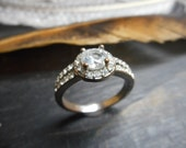 Vintage Faux Diamond rhinestone engagement ring. silver over copper with rhinestones