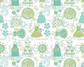 Retro Apron Fabric, 1 Yard, Quilt Fabric, Turquoise Apron Strings, 1438B84, Contempo Studio, Kitchen Love by Cherry Guidry Collection, Retro