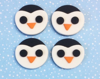 12 Fondant Penguin cupcake toppers