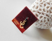 14 kt Gold Initial C or E Charm or Pendant. Yellow Gold. Stamped 14 k. New on Card.