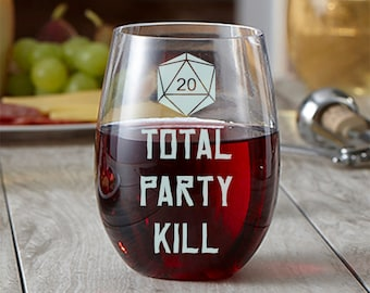 Total Party Kill - Etched Wine Glass - TPK - Stemless Wine Glass - Tabletop RPG Glass - Dungeon Master - Critical Hit - DM Gift - Gamer Gift