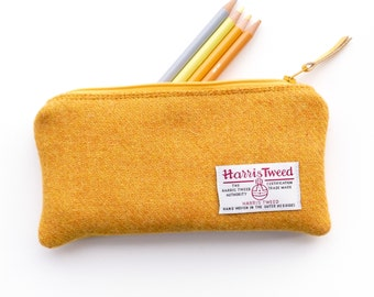 Yellow pencil case, hand woven HARRIS TWEED, handmade in Scotland, gift for student