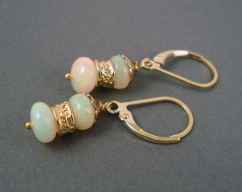 Opal Earrings, Ethiopian Fire Opals and Gold Wires, Two Large Colorful Red Fire  Opals