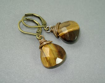 Tiger Eye Faceted Brio Drop Earrings with Brass Leverback Wires