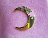 SECONDS - Gold Moon Pin - Hard Enamel Pin