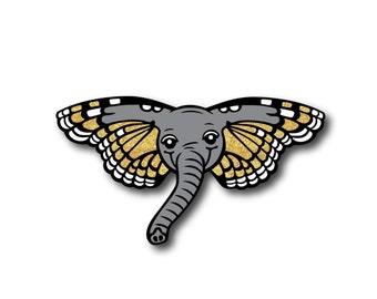 PRE-ORDER - Butterphant Pin - BIG Hard Enamel Pin - Gold Glitter