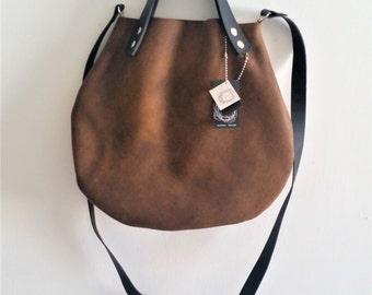 Brown leather  basket bag ,Cross-body bag, handbag
