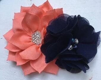 coral flower hair clip, navy  flower hair clip, girl hair accessory, girl birthday gift, girl party favor, flower girl hair clip, flower cli