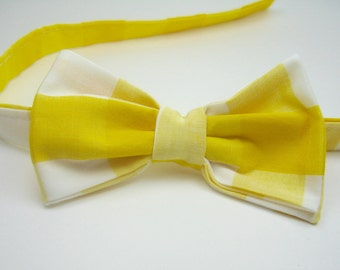 Yellow Bow Ties Yellow Gingham Bow Ties Mens Bow Ties Boys Bow Ties Freestyle Bow Ties Wedding Bow Ties Custom Bow Ties